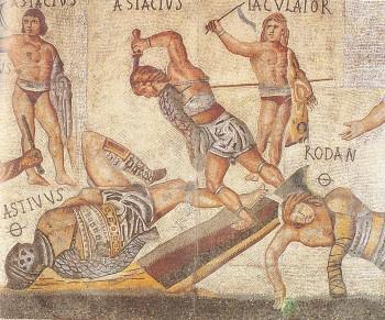 Detaliu dintr-un mozaic unde sunt pomeniţi 33 de gladiatori, datând din secolul IV d.Hr. şi descoperit la Villa Borghese lângă Roma. Semnul Ø de lângă nume arată că gladiatorul respectiv a fost ucis după o luptă pierdută