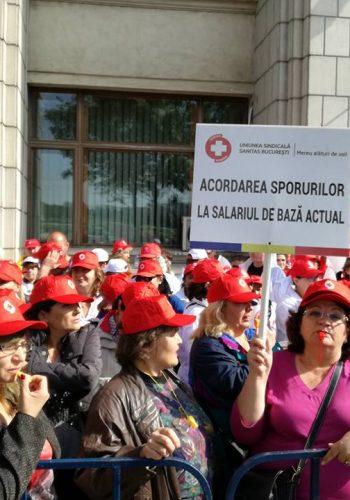 Sindicaliştii Sanitas au pichetat Ministerul Finanţelor
