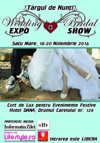 Wedding EXPO & Bridal SHOW are loc în perioada 18 - 20 noiembrie 2016 în Cortul de lux pentru evenimente al Hotelului Dana de pe Drumul Careiului nr. 128.