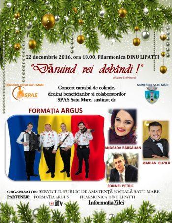 """Concert caritabil de colinde, în 22 decembrie la Filarmonica """"Dinu Lipatti"""""""