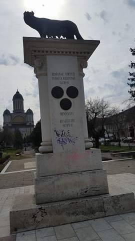 Statuia a fost vandalizata de autori necunoscuti