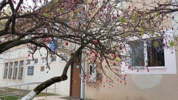 Cele 150 de ouă au fost agăţate într-un copac cu flori înalt de peste trei metri şi situat în centrul comunei Beltiug