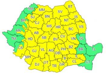 Harta Romaniei cu avertizarea cod galben