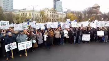 Medicii de familie au protestat in fata Guvernului