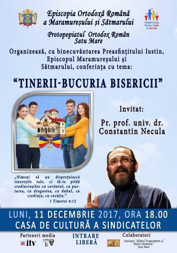 Pr. Constantin Necula va conferenţia la Satu Mare azi, 11 decembrie