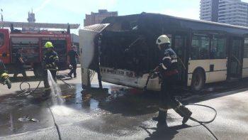 A fost nevoie de interventia pompierilor pentru stingerea incendiului la cele două autobuse